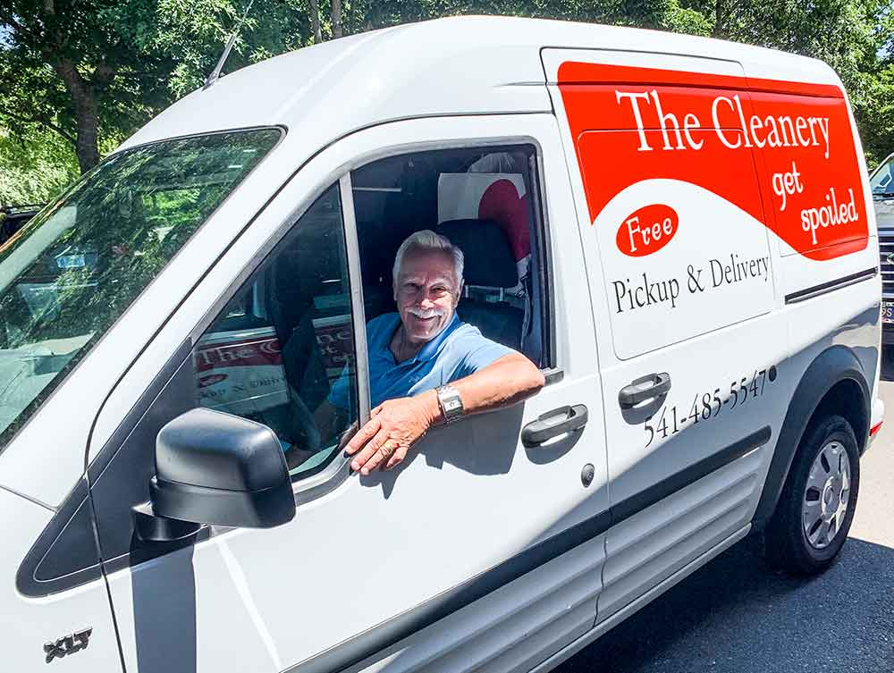 Co-owner Rown Bowker in one of The Cleanery's delivery vans
